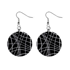 Black and white elegant lines Mini Button Earrings
