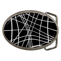 Black and white elegant lines Belt Buckles