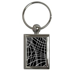 Black and white elegant lines Key Chains (Rectangle)