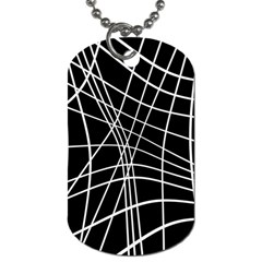 Black and white elegant lines Dog Tag (Two Sides)