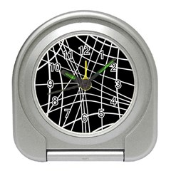Black and white elegant lines Travel Alarm Clocks