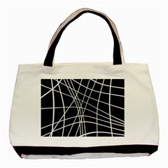 Black and white elegant lines Basic Tote Bag