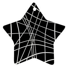 Black and white elegant lines Star Ornament (Two Sides)