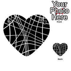 Black and white elegant lines Playing Cards 54 (Heart)