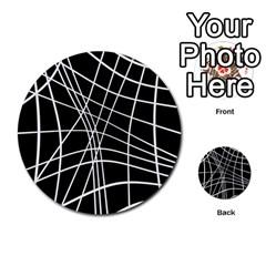 Black and white elegant lines Multi-purpose Cards (Round)