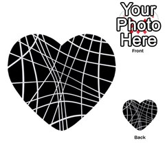 Black and white elegant lines Multi-purpose Cards (Heart)