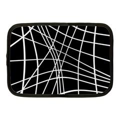 Black and white elegant lines Netbook Case (Medium)