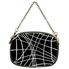 Black and white elegant lines Chain Purses (Two Sides)
