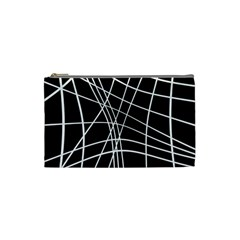Black and white elegant lines Cosmetic Bag (Small)