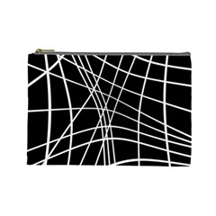 Black and white elegant lines Cosmetic Bag (Large)