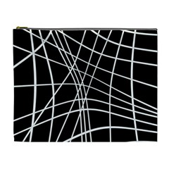 Black and white elegant lines Cosmetic Bag (XL)