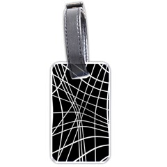 Black and white elegant lines Luggage Tags (One Side)