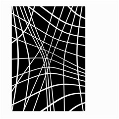 Black and white elegant lines Large Garden Flag (Two Sides)