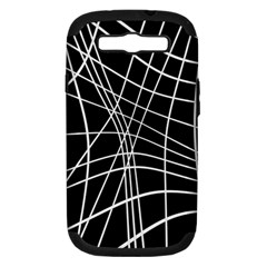 Black And White Elegant Lines Samsung Galaxy S Iii Hardshell Case (pc+silicone)