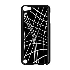 Black and white elegant lines Apple iPod Touch 5 Case (Black)