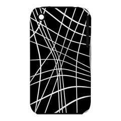 Black and white elegant lines Apple iPhone 3G/3GS Hardshell Case (PC+Silicone)