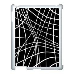 Black and white elegant lines Apple iPad 3/4 Case (White)