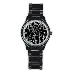 Black and white elegant lines Stainless Steel Round Watch