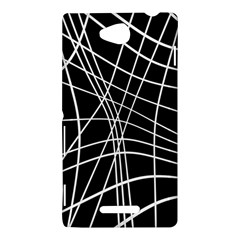 Black and white elegant lines Sony Xperia C (S39H)