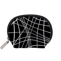 Black and white elegant lines Accessory Pouches (Small)