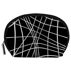 Black and white elegant lines Accessory Pouches (Large)