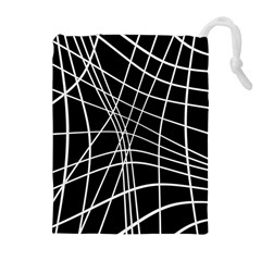 Black and white elegant lines Drawstring Pouches (Extra Large)