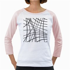 Black and white decorative lines Girly Raglans