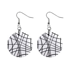 Black and white decorative lines Mini Button Earrings