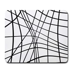 Black and white decorative lines Large Mousepads