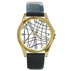 Black and white decorative lines Round Gold Metal Watch