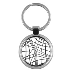 Black and white decorative lines Key Chains (Round)