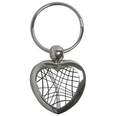 Black and white decorative lines Key Chains (Heart)