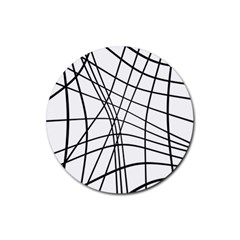 Black and white decorative lines Rubber Coaster (Round)