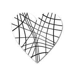 Black and white decorative lines Heart Magnet