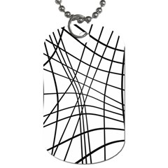 Black and white decorative lines Dog Tag (Two Sides)