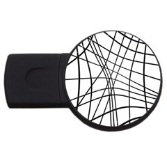 Black and white decorative lines USB Flash Drive Round (1 GB)