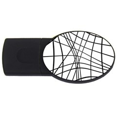 Black and white decorative lines USB Flash Drive Oval (2 GB)