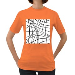 Black and white decorative lines Women s Dark T-Shirt