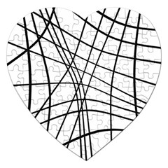 Black and white decorative lines Jigsaw Puzzle (Heart)