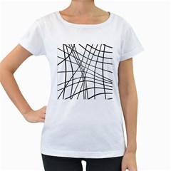 Black and white decorative lines Women s Loose-Fit T-Shirt (White)