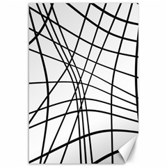 Black and white decorative lines Canvas 12  x 18