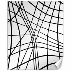 Black and white decorative lines Canvas 16  x 20