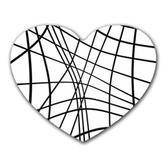 Black and white decorative lines Heart Mousepads