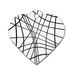 Black and white decorative lines Dog Tag Heart (Two Sides)