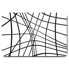 Black and white decorative lines Large Doormat