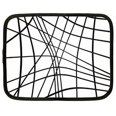 Black and white decorative lines Netbook Case (Large)