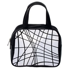 Black and white decorative lines Classic Handbags (One Side)