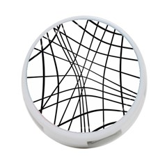 Black and white decorative lines 4-Port USB Hub (Two Sides)
