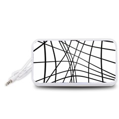 Black and white decorative lines Portable Speaker (White)