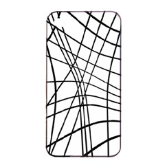 Black and white decorative lines Apple iPhone 4/4s Seamless Case (Black)